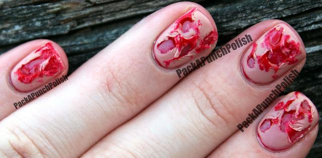 PackAPunchPolish: Bloody Ripped Flesh Halloween Nail Art