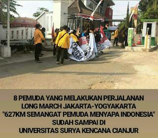 Hari ke-8 Aksi 8 Pemuda Long March 627Km Tiba Di Kab.Cianjur