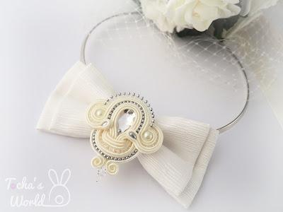 bow tie, bridal, bride, eco-friendly, fiancée, glass pearls, ivory, jewellery, soutache, Swarovski, tie a knot, upcycled, wedding, necklace, choker