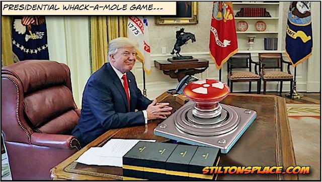 stilton's place, stilton, political, humor, conservative, cartoons, jokes, hope n' change, trump, north korea, nuclear, button, twitter