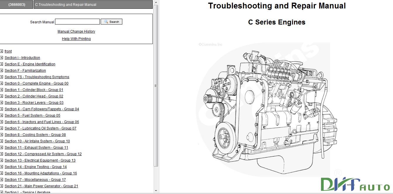 Troubleshooting and Repair Manual C Series Engine Cummins