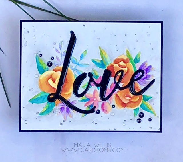 #cardbomb, #mariawillis, #cards, #handmade, #love, #concord&9th, #watercolor, #arteza, #artezarealbrushpens, #color, #art, #create, #craft, #paint,
