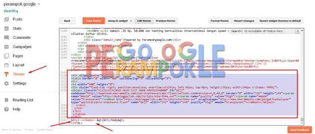 letakan kode widget animasi lentera di atas kode body