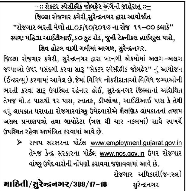 rozgaar bharti mela 10 pass job