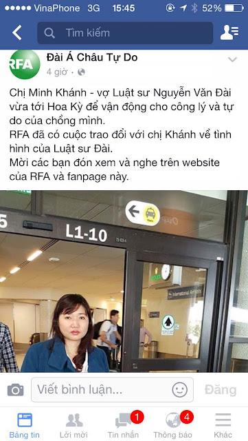 Vợ Nguyễn Văn Đài bị công an tạm giữ