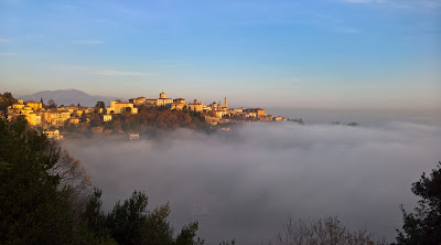 View of Bergamo: Citta Alta and clouds.