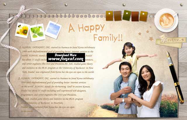 free PSD download : Girl and her family in the panel