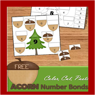 acorn cut and paste addition worksheets