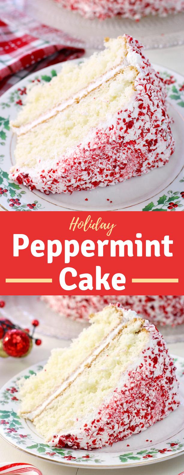 HOLIDAY PEPPERMINT CAKE #HolidayCake #Dessert