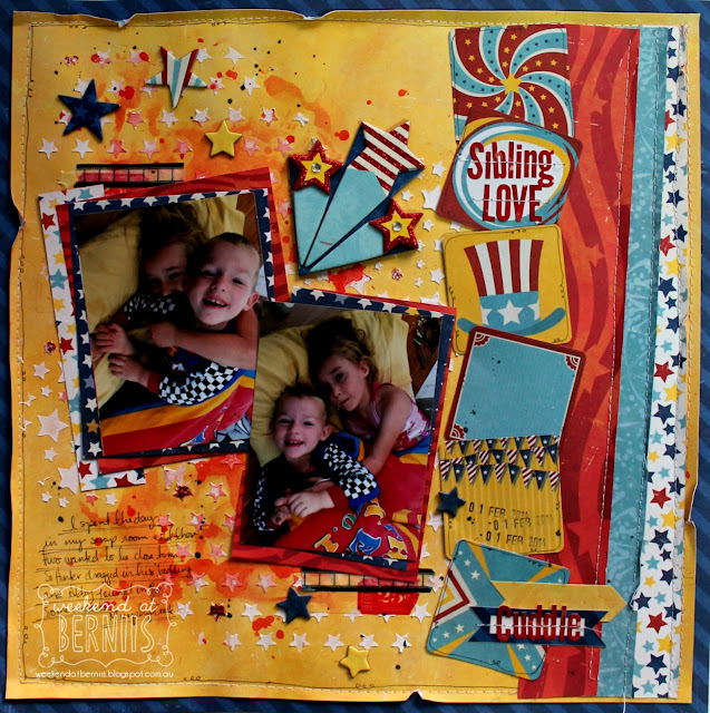 Sibling love layout by Bernii Miller for BoBunny using the Firecracker collection. 1.