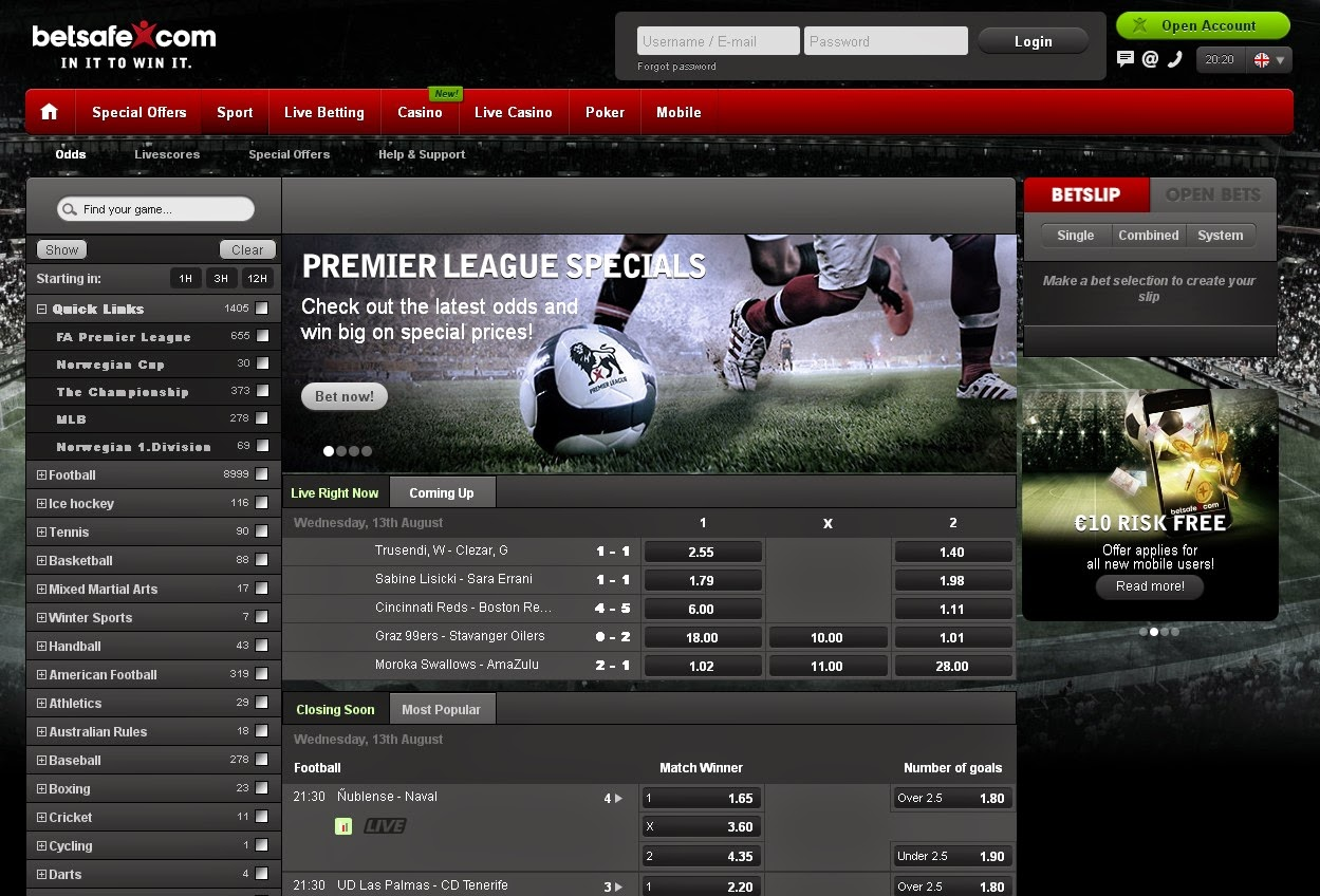 Betsafe Sportsbook Screen