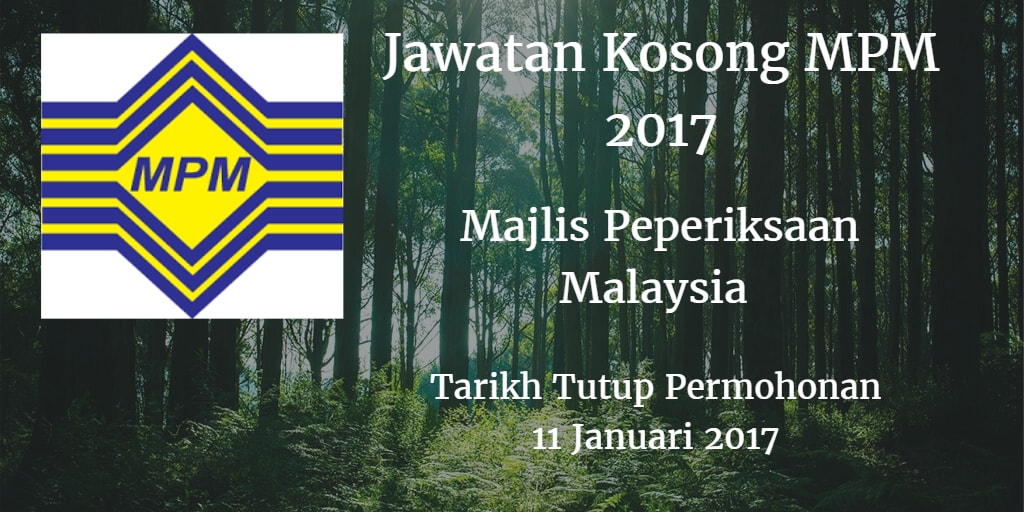 Jawatan Kosong MPM 11 Januari 2017