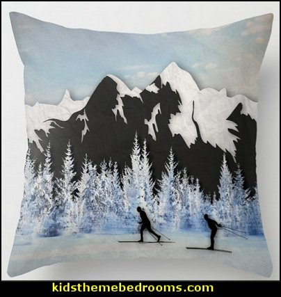 Cross Country Skiing Throw Pillow   Ski cabin decorating - ski lodge decor - winter cabin decorating ski resort bedroom ideas - winter wall murals - ski chalet theme bedroom decorating ideas - modern rustic style winter cabin decor - Swiss alps decoration Alpine theme decorating - adventure bedroom design ideas - ski alps wall decal stickers - Swiss chalet mountain ski lodge murals weather themed bedroom decorating