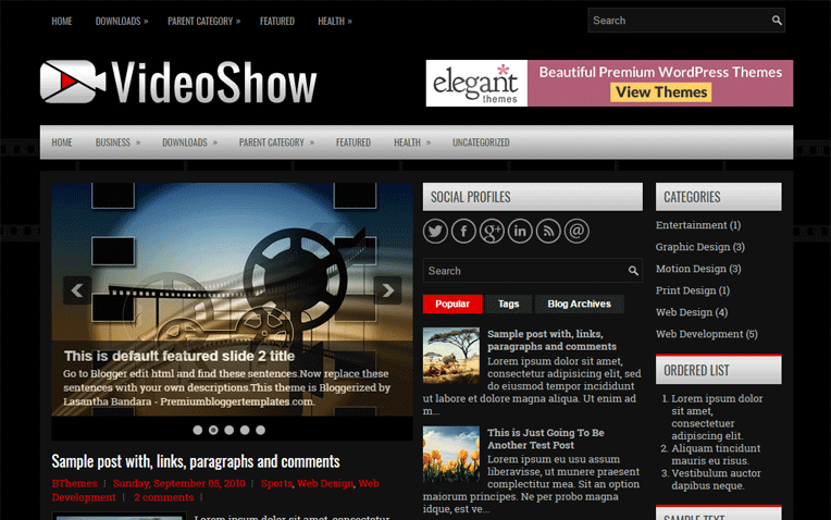 VideoShow Free Blogger Template