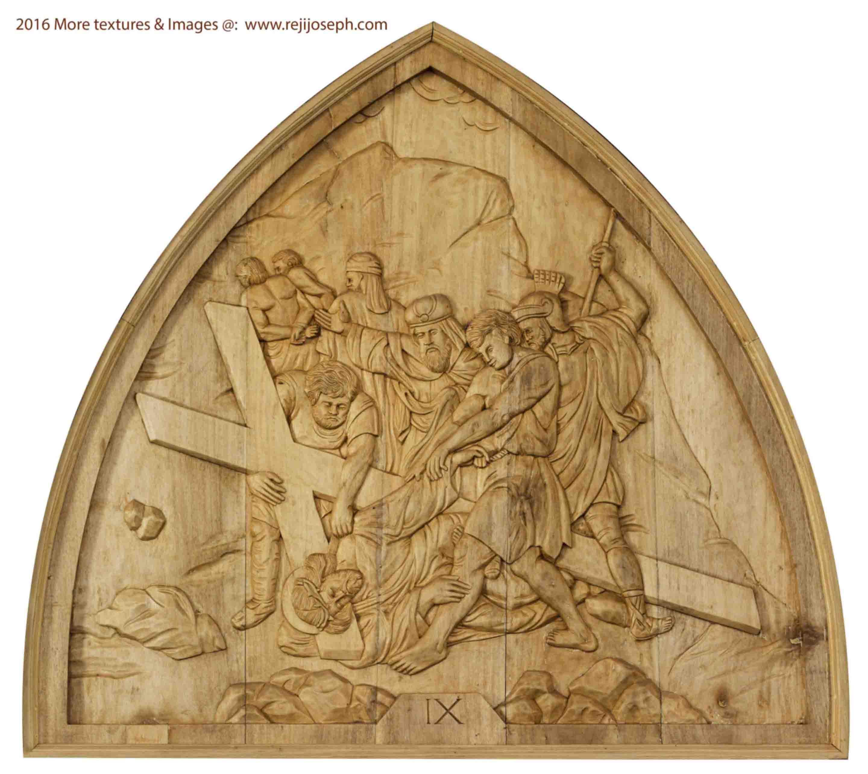 Way of the cross wooden relief 009