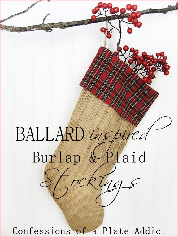 Ballard Inspired Burlap And Plaid Christmas Stockings