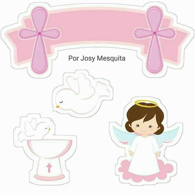 Girl First Communion Free Printable Cake Toppers.