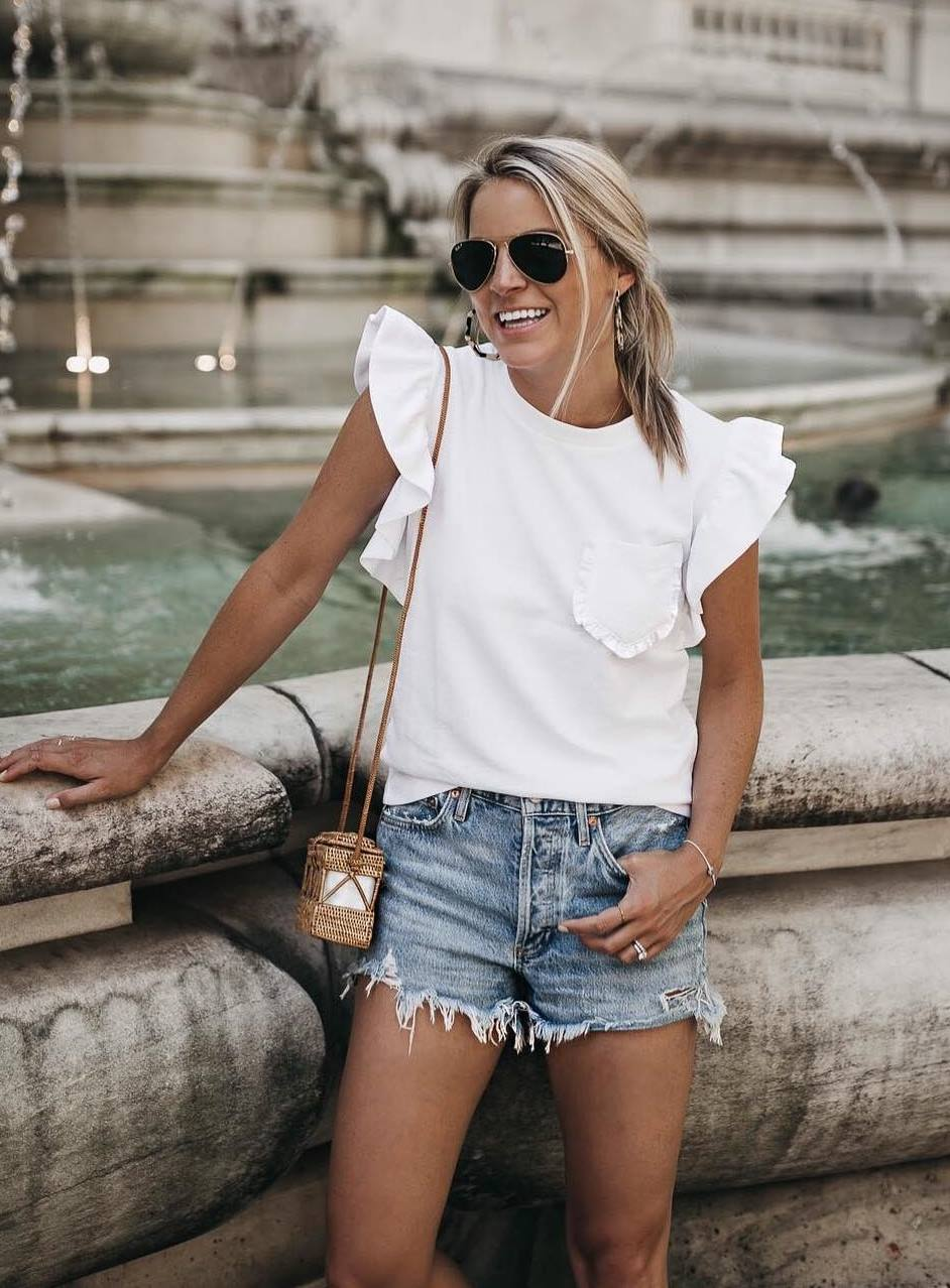 summer outfit idea / white ruffle top + small bag + denim shorts