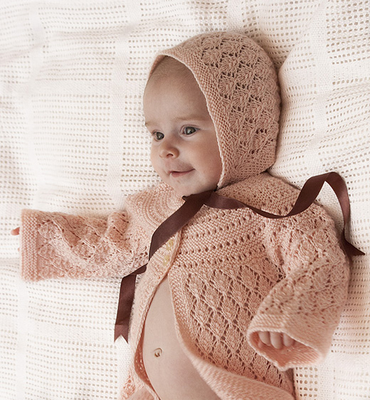 Lucille Cardigan & Bonnet free Knitting Pattern