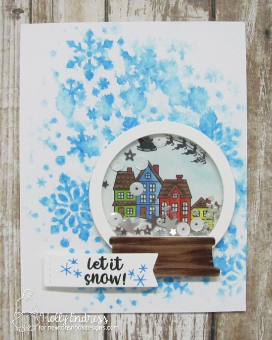 Snow Globe Shaker Christmas Card by Holly Endress | Snow Globe Scenes Stamp Set  and Snow Globe Shaker Die Set by Newton's Nook Designs #newtonsnook