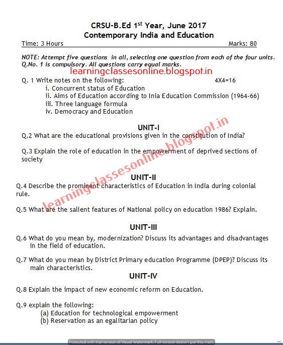 Contemporary India and Education Question Paper for first Year