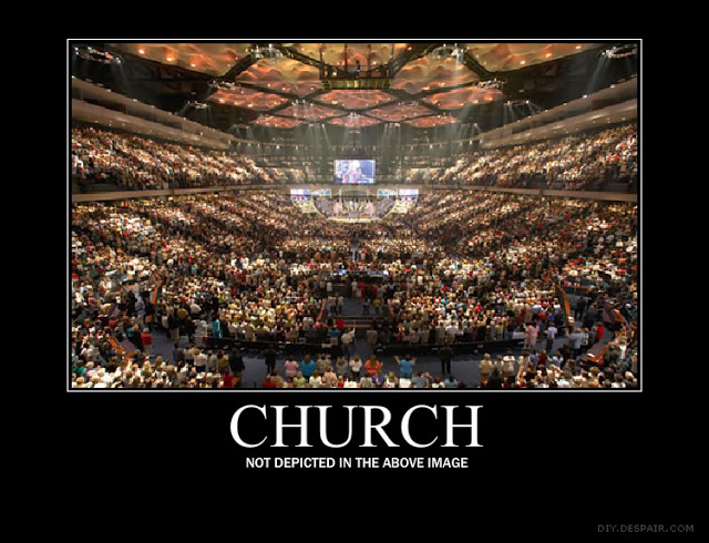 Photo of Megachurch. Caption - Church not depicted in the above image by DIY despair. The Atheist's Nightmare. marchmatron.com