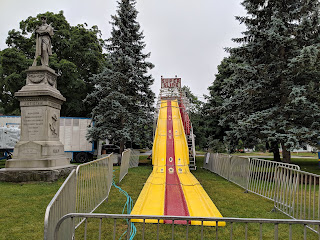 The big slide is set up near the Single Solder Monument