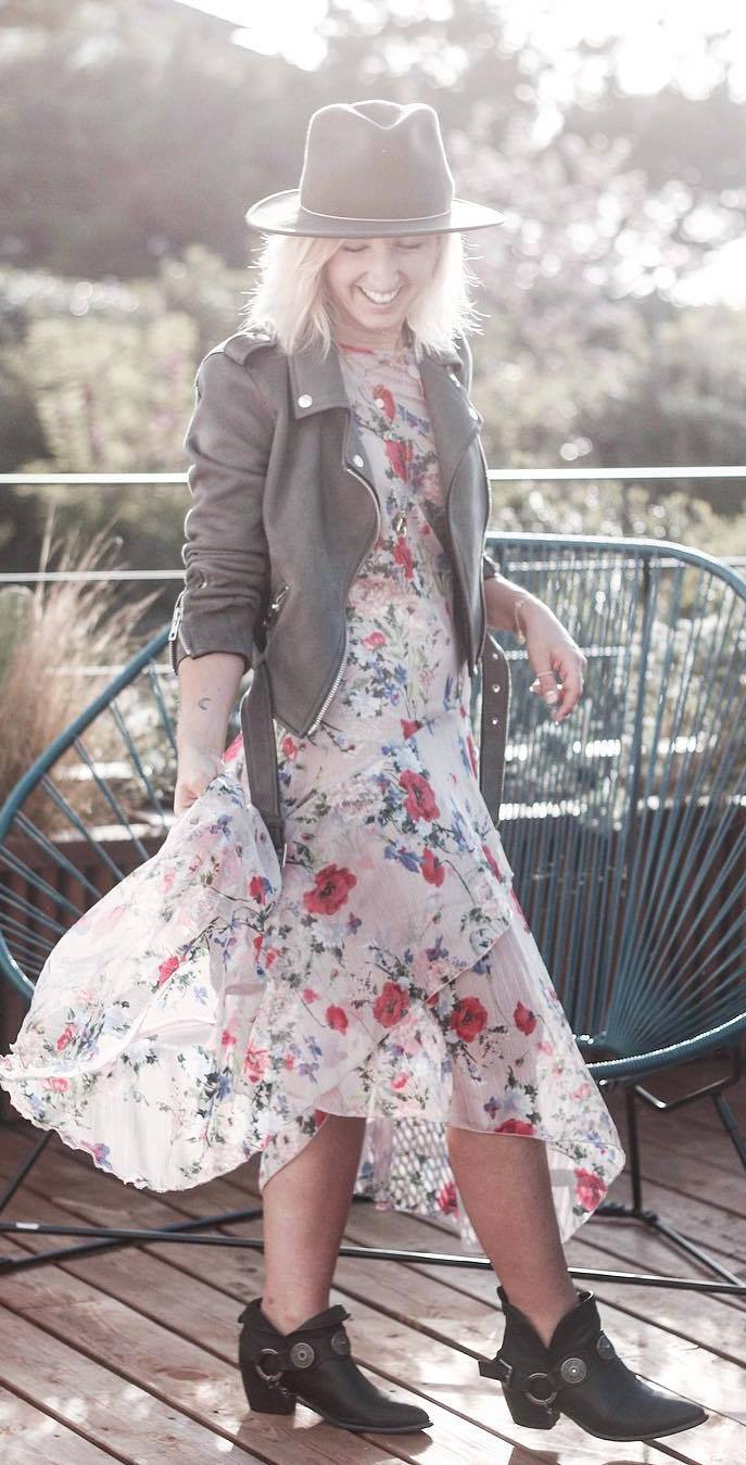 cute boho chic outfit: hat + jacket + dress