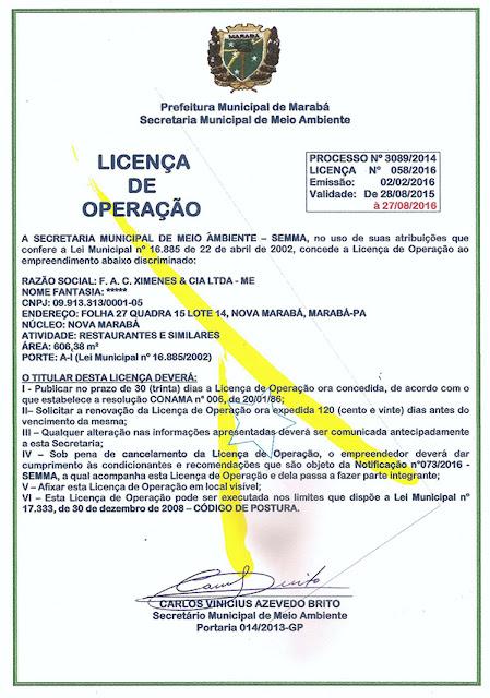 LICENÇA DE OPERAÇÃO - RESTAURANTE E PIZZARIA VERDES MARES