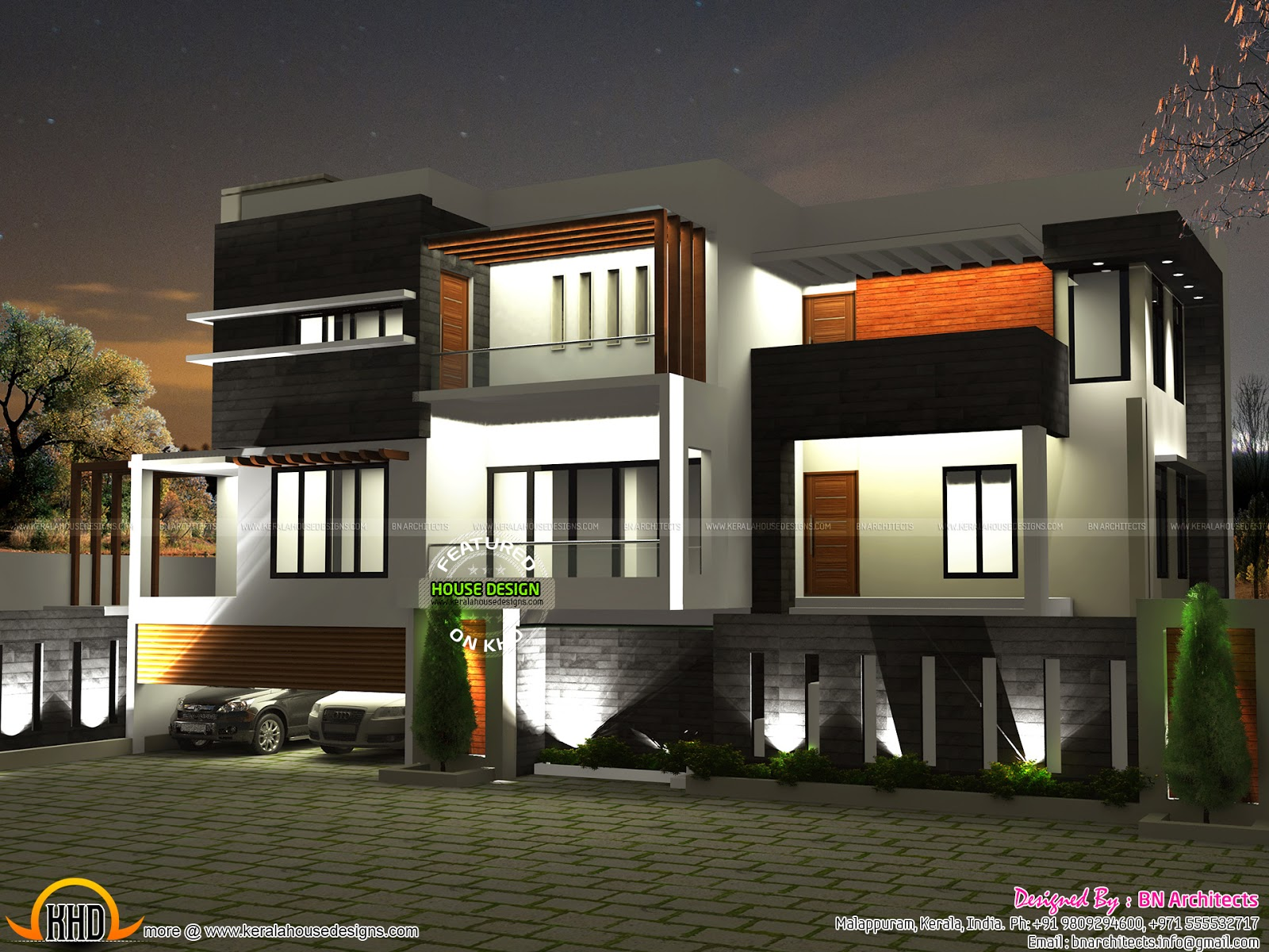 N Home Elevation Kerala : Day night view of elevation and floor plan kerala home