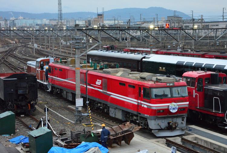EH800 京都鉄道博物館からの搬出シーンを撮る
