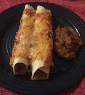 beef enchiladas, easy enchilada recipe, cheesy, easy and quick Mexican dishes, refried beans,