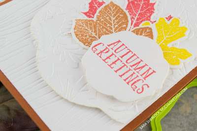 This textured and layered fall card, was created using Fun Stampers Journey Hello Fall bundle, and Barn Wall and Changing Seasons Embossing Folders.