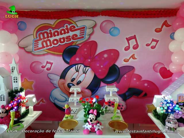 Decoração de festa infantil tema Minnie rosa - Aniversário