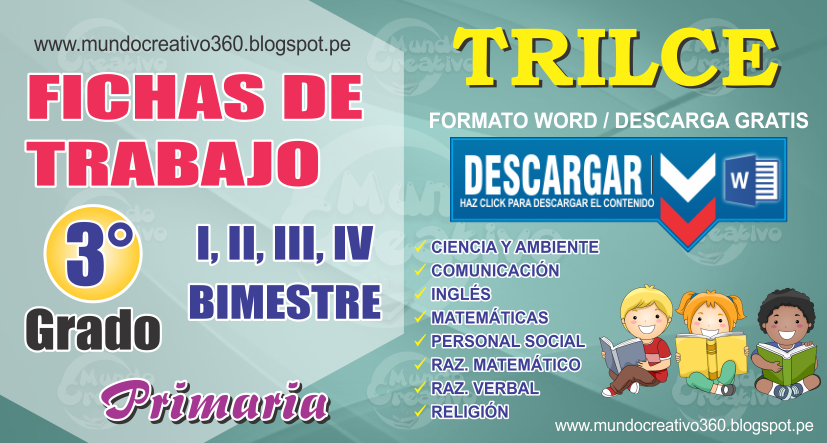 FICHAS DE TRABAJO TRILCE 3er. GRADO - Mundo creativo360