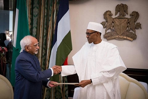 Nigeria President Buhari and Indian Vice President, Mohammad Hamid Ansari