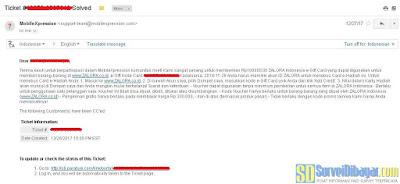 Email dari support MobileXpression tentang penyelesaian permasalahan voucher anda | SurveiDibayar.com