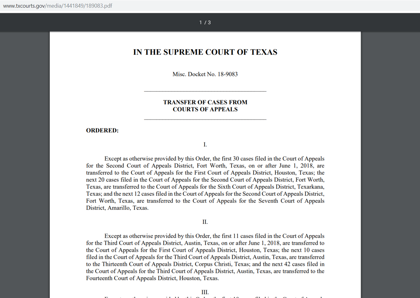 example of scotx order transferring appeals cases
