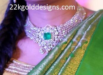 Center Emerald Diamond Necklace