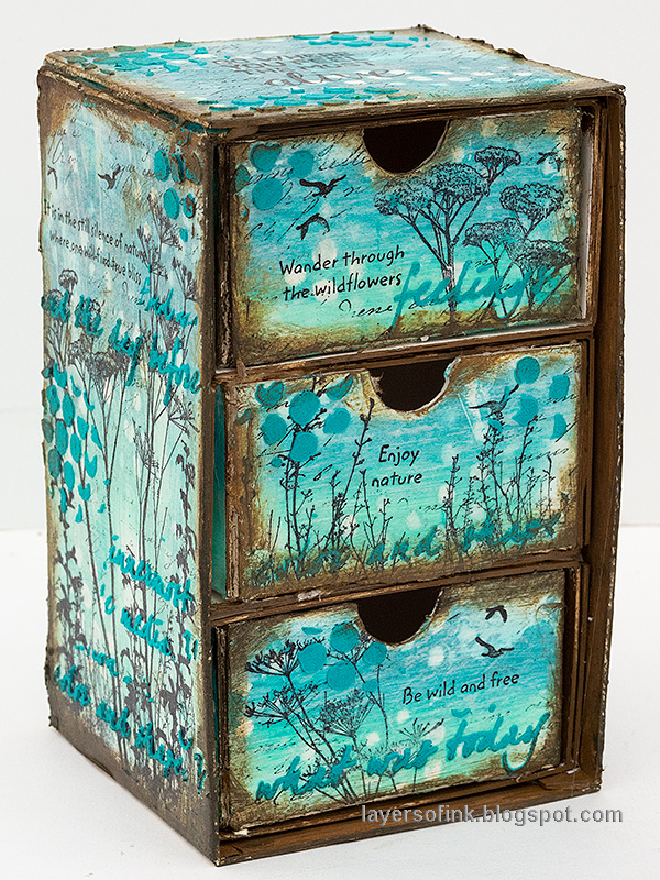 Layers of ink - DIY Chest of Drawers Tutorial by Anna-Karin Evaldsson made with Sizzix dies by Eileen Hull.