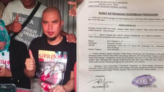 Ahmad Dhani Dilaporkan ke Polda Jatim Setelah Aksi #2019GantiPresiden di Surabaya