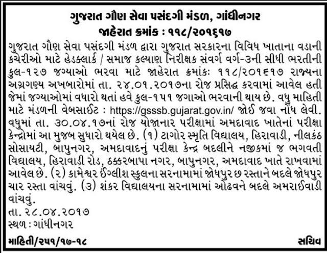 Head Clerk / Social Welfare Inspector Vacancy