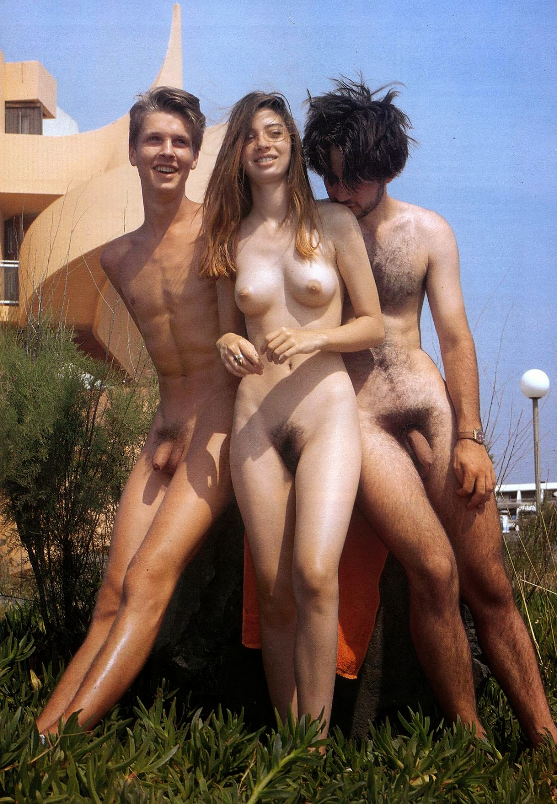 Young nude family speaking, you