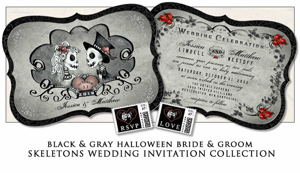 bride & groom Halloween gray black wedding invitation template