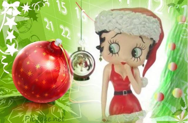 Betty Boop Navidad con esfera árbol, crea tu fotomontaje gratis