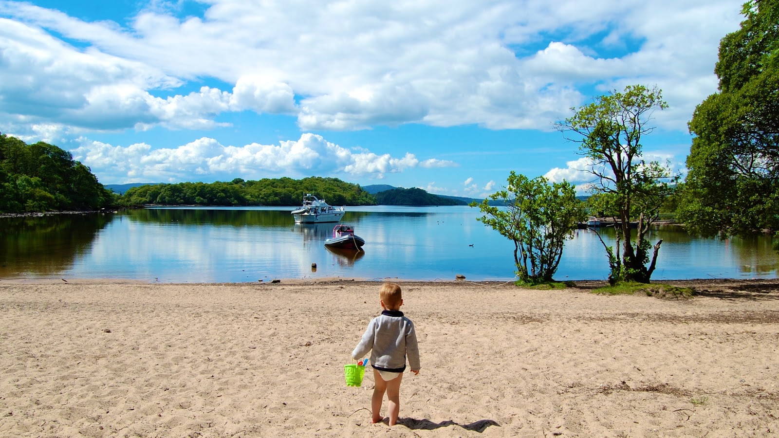 On the beach on Inchcailloch in Loch Lomond
