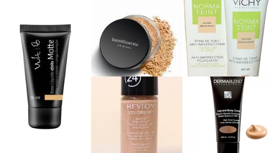 base maquiagem pele com acne