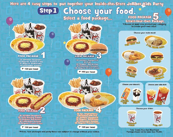 Jollibee Party package - step 1