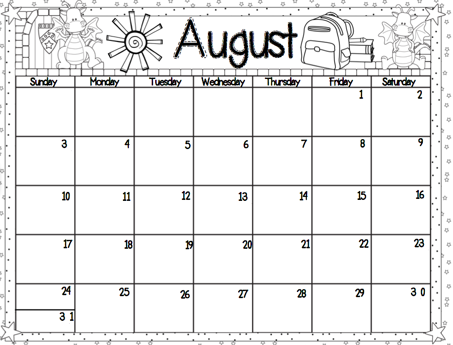 Kindergarten dragons it 39 s almost time for Monthly behavior calendar template