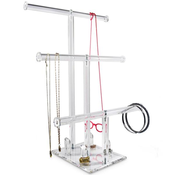Shop Wholesale 3-Tier Acrylic Necklaces Bracelets Rings Stand Holder Jewelry Display at Nile Corp